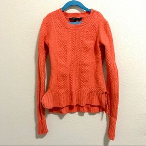 BCBG MAXAZRIA  peplum sweater  knit red orange XXS